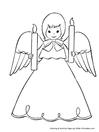 christmas scenes coloring pages angel candles