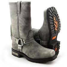 motorcycle footwear mens xelement lu1605 men s 13in stone wash black leather harness