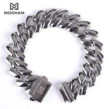 men jewelry bracelet images Stainless steel cuban chain bracelet for men l 39 mooham jpg