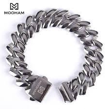 men jewelry bracelet images Stainless steel cuban chain bracelet for men l 39 mooham jpg