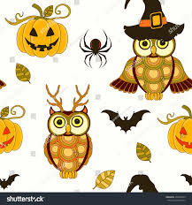 seamless halloween pattern pumpkin owls on stock vector 494233429