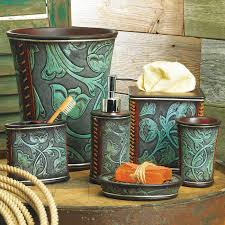 Turquoise Bathroom Accessories by Tooled Turquoise Bath Accessories