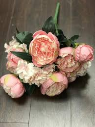 artificial peonies 12 fabric artificial peonies peony bunch ivory 121 3