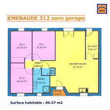 plan maison 3 chambres plain pied garage plan de maison individuelle plain pied