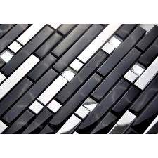 Black And Silver Metal Glass Mosaic Sheets Crystal Diamond Tile - Cheap mosaic tile backsplash
