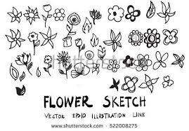 sketchy flower vector set download free vector art stock