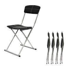 chaise pliante chaise pliante noir compact simili lot de 4 chaise design topkoo