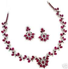 diamond necklace red images Lovely red and white zircon necklace with earrings gleam jewels jpg