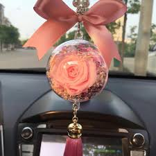 hanging car charm ornaments perserved fresh pink flower in glass