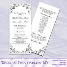 black and white wedding programs black and gold wedding program template by weddingprintablesdiy