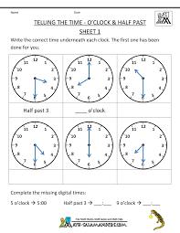 clock worksheets online telling time worksheets o clock and half past kindergarten gr
