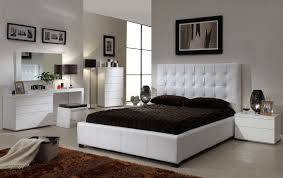 Athens White Queen Size Bed Athens At Home USA Modern Bedrooms - White leather contemporary bedroom furniture
