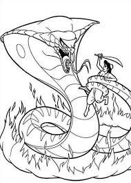 alladin coloring pages jafar in form of giant cobra fights aladdin coloring page jafar