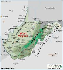West Virginia travel the world images Map of west virginia large color map gif