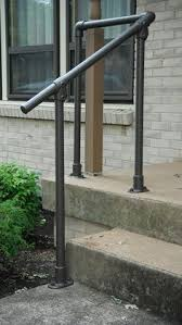 Outside Banister Railings Steel Handrail 3 4 Inch Bought Pipe And All Hardware At Home