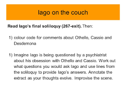 themes in othello act 1 scene 3 act 2 scene 1 key areas for analysis iago s soliloquy ppt video