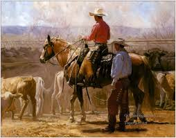 5 cowboys and their cattles at farm original oil painting cowboy western art