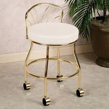 Vanity Stools For Bathrooms Gold Metal Bathroom Vanity Chair On Wheels With Low Back And