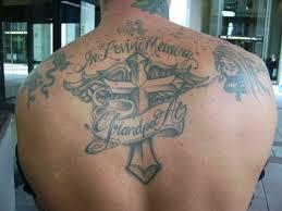 upper back cross banner tattoo for men tattoos book 65 000