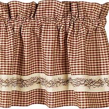 primitive curtains and country valances for country home decorating