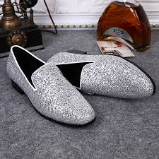 fashion men u0027s silver sequin casual slip on loafers shoes dress