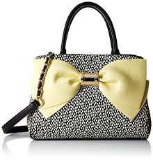 bags with bows betsey johnson ready set bow satchel bag yellow one size check