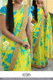 yellow color combination asmani light blue u0026 yellow color combination designer saree with