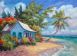 cottage at the water s edge painting by clark