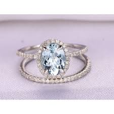 Aquamarine Wedding Rings by Aquamarine Engagement Rings Oval Cut White Gold Halo Ring