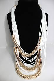 multi gold necklace images Nefertiti white and gold multi strand necklace all frills beauty jpg