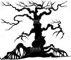 halloween trees halloween tree by hand drawing stock vector art 614234066 istock