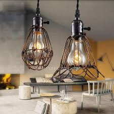 Vintage Industrial Light Fixtures Small Cage Shaped One Industrial Light Fixture