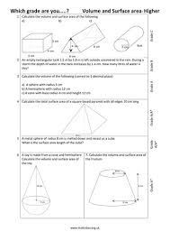 graded gcse higher volume and surface area by mathsbox1