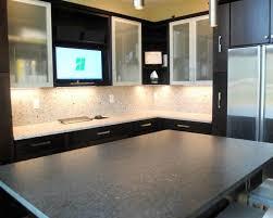 Maple Rohe Espresso Cabinets Silver Pearl Granite Silestone - Silestone backsplash