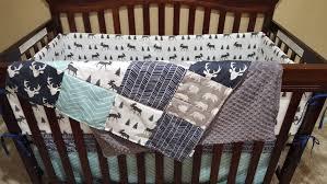 Chevron Boy Crib Bedding Baby Boy Crib Bedding Navy Buck Moose Gray Aqua