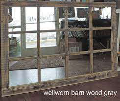 large wood wall hanging barn wood 12 pane window mirror rustic mantel or wall hanging