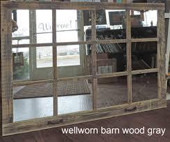 barn wood 12 pane window mirror rustic mantel or wall hanging