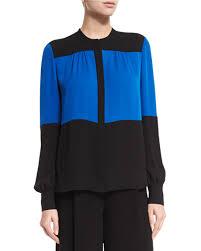 diane von furstenberg dillon colorblock silk blouse