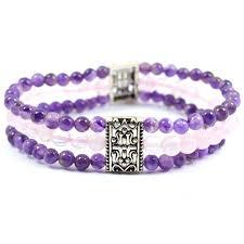rose crystal bracelet images Amethyst with rose quartz three line design crystal bracelet guruhem jpg