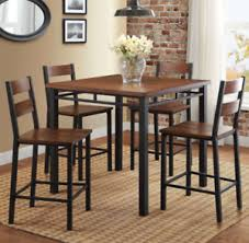 rustic high top table small table set apartment dining eating family dinner dinette rustic