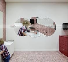 Acrylic Bathroom Mirror Three Dimensional Crystal Wall Stickers Acrylic Round Bathroom