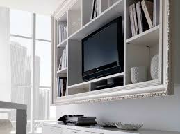 cool white varnished wooden wall mounted tv cabinet also shelf as