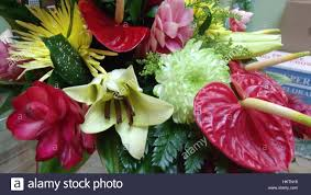 pink white and yellow flowers arrangement stock photo royalty