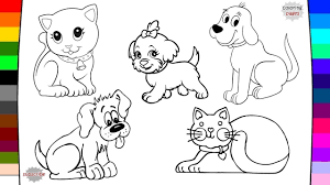 how to draw cat and dog pets coloring pages art of coloring