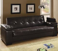 furniture espresso leather tufted sofa bed with storage armsrest