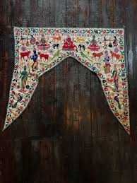 vintage colorful embroidered valance from india shop nectar