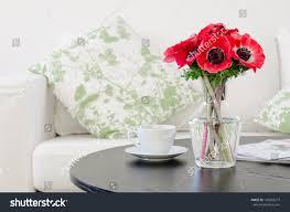 Modern White Home Decor Vase Red Flowers Modern White Living Stock Photo 125803277