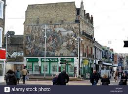 dartford town high street showing a large wall mural borough of stock photo dartford town high street showing a large wall mural borough of dartford in kent uk 2014