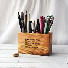 Wood Desk Accessories And Organizers Medium Desk Caddy With Quote Wood Desk Organizer Wooden Office