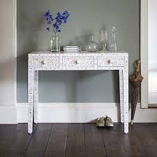 mirrored console vanity table mother of pearl dressing table in pearly white